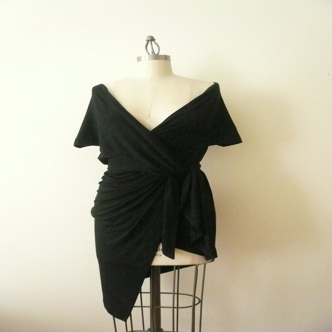 Image of MARIA SEVERYNA Black Drape Wrap Tunic Top