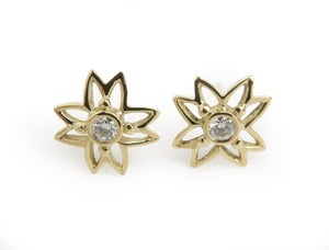 Image of Diamond Flower Earrings in 18k Yellow Gold