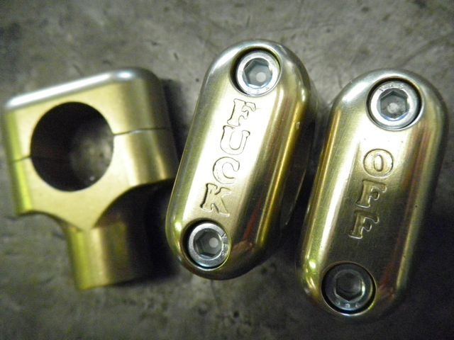 Image of FUCK OFF risers-BRASS