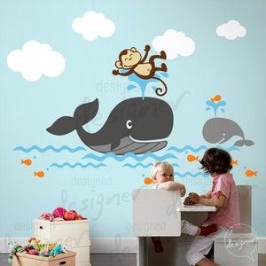 Image of Whale theme nursery wall decal - dd1054 - Kids Vinyl Wall Sticker Decal Art