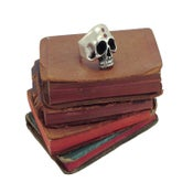 "Image of ""Keith"" Half Skull Ring with Ruby Stones"