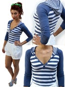 Image of Striped hooded shirt