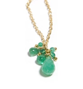 Image of Chrysophrase and Emerald drop Necklace