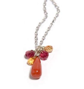 Image of Coral and Spinel drop Necklace