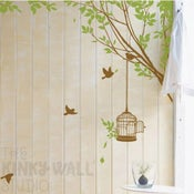 Image of Bird Cage Hanging off Tree Branch with Birds Wall Decal Sticker KK107