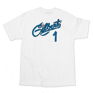 Image of GILBERT ARENAS IS THE SNEAKER CHAMP TEE | white/royal