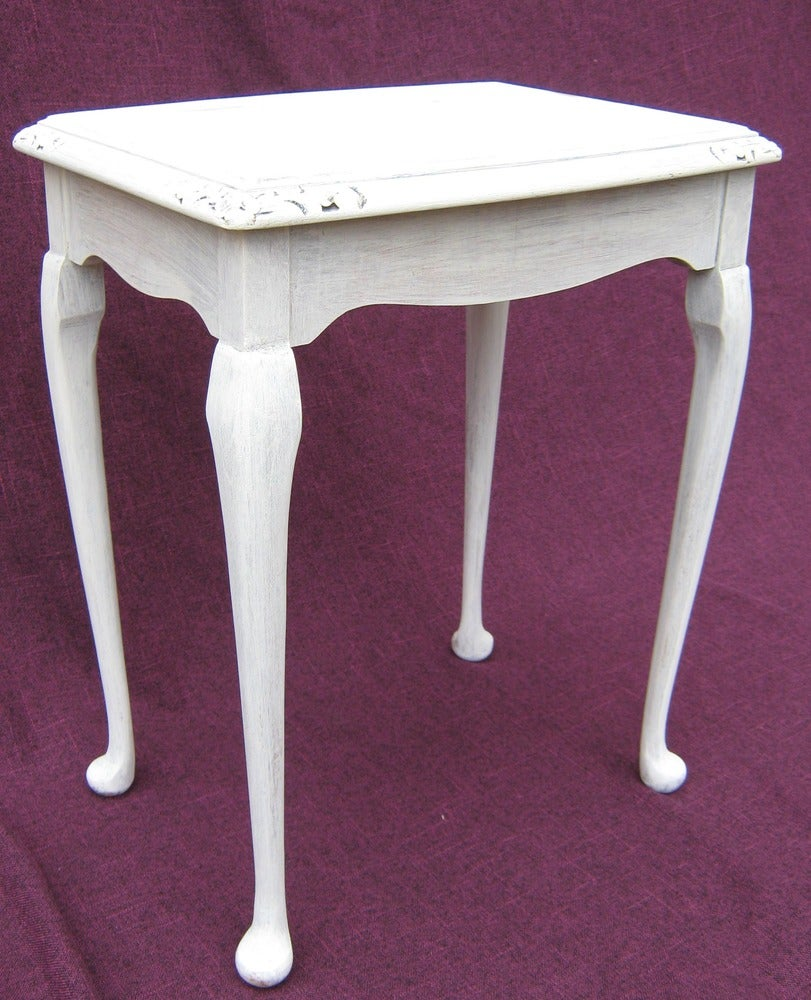 Tracey D Stylehouse Shabby Chic vintage side table with carved