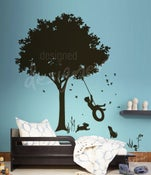 Image of Little Boy Swinging under Tree on Tyre Swing - Kids Vinyl Wall Sticker Decal Art