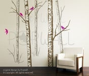 Image of Vinyl wall sticker decal art - Birch Forest Trees ( 5 TREES ) - 068