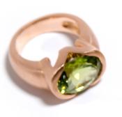 Image of Peridot Pink Gold Ring