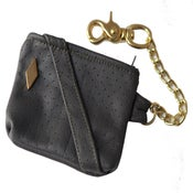 Image of Grey/Gold PD Perforated Leather Utility Pouch