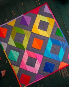 Image of Rainbow Diamonds Mini Quilt