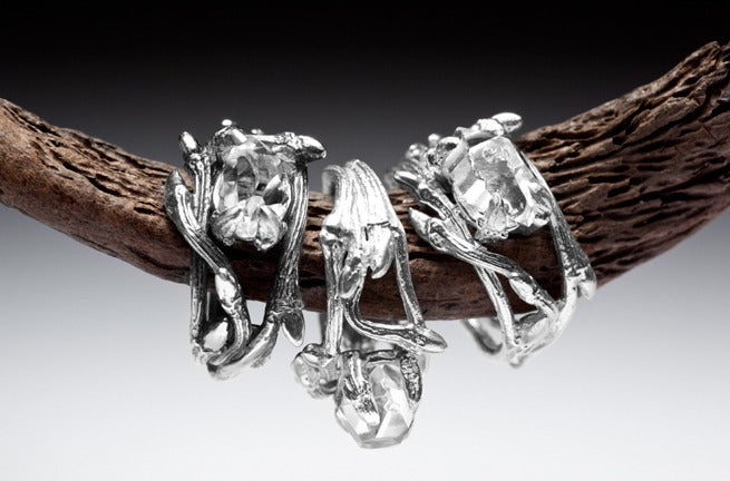 Image of Light Elvish Ring<br>Herkimer Diamond