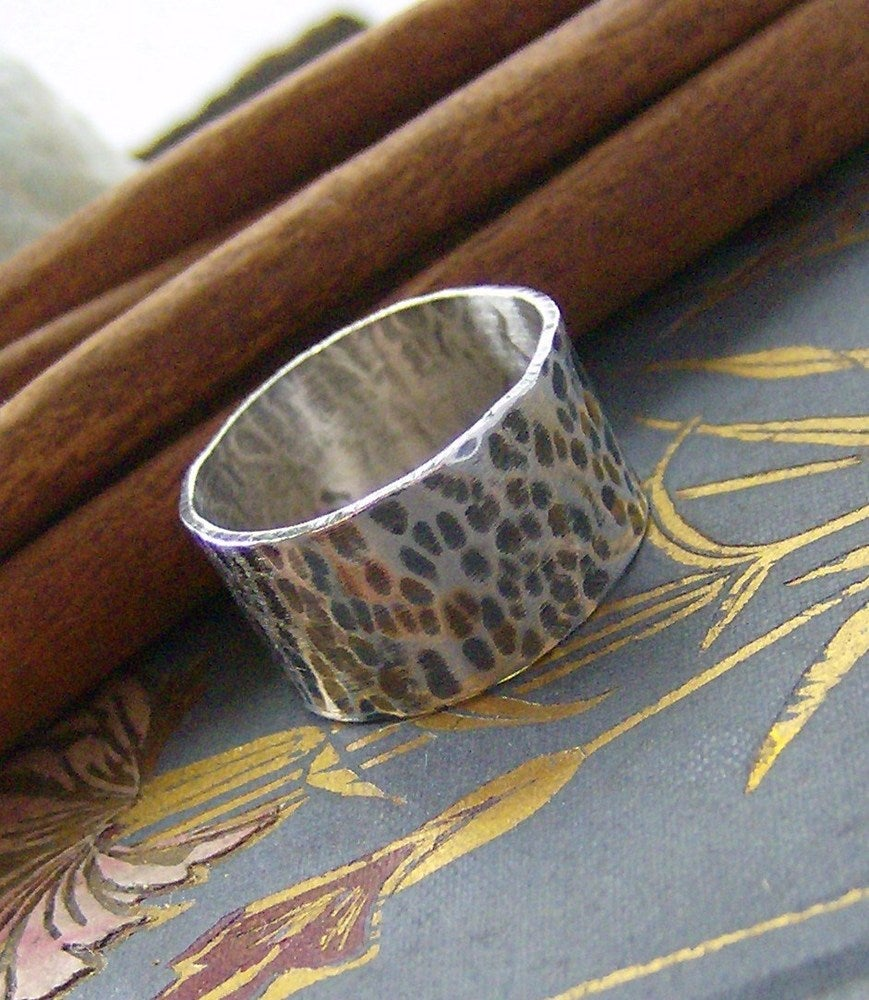 Image of Wide hammered sterling silver ring