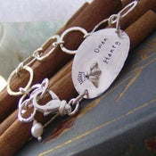 Image of Queen Bee hand stamped sterling silver bracelet