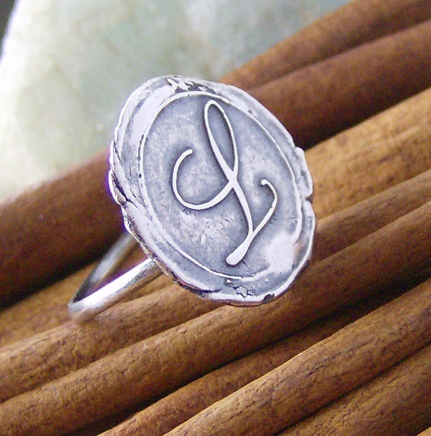 single letter wax seal script style s vintage letters wax seal style ring cinnamon sticks 557