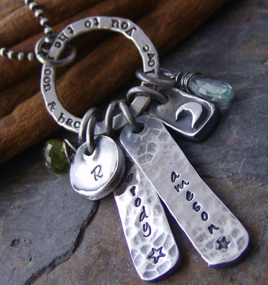 Rustic love hand stamped fine silver and gem stone mother for How do you make hand stamped jewelry