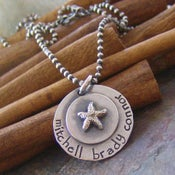 Image of Beach mom hand stamped sterling silver mother's necklace