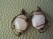 Image of Handmade Wirewrapped Rose Quartz Cabs in Antiqued Copper wire