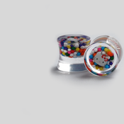 Image of Clear Double Flared Hello Kitty Plugs