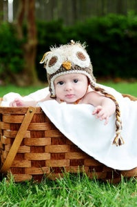 Image of 0-3 Month Natural Brown Owl Hat