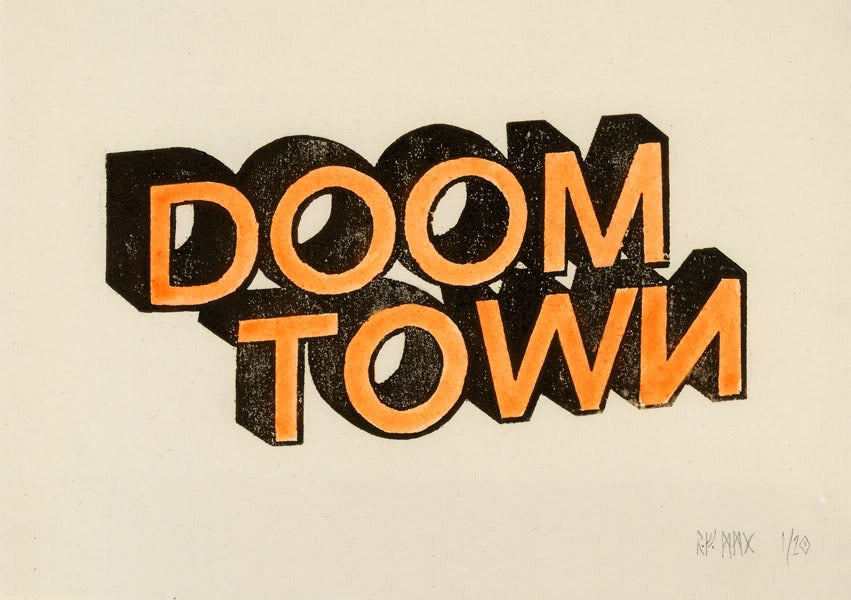 Image of Doom Town Block-print