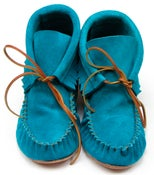 Image of Suede Fringe Ankle Bootie - Turquoise