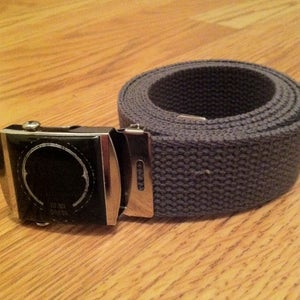 Image of NEW! Prestigious BADGE webbed cotton belt - charcoal w/chrome + black buckle