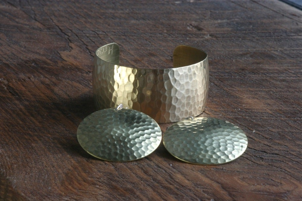 Image of Set hammered Cuff and Earrings
