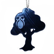 Image of Ltd. Edition Owl in Tree Necklace made from recycled vinyl records.