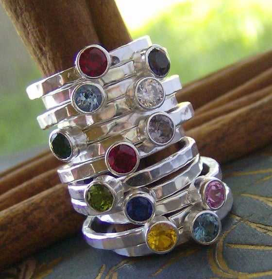 Image of Personalized Gem Stone Stacking rings