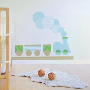 Image of Train Fabric Decal - Removable and Reusable Wall Decal for Nursery or Kids Room
