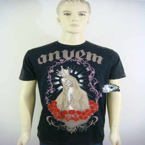"Image of ANVEM clothing brand ""santa muerte"" men black shirt"