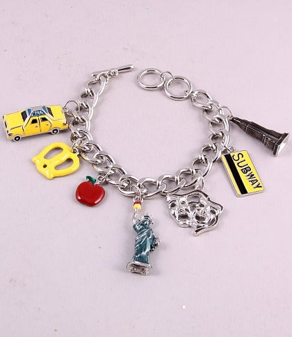 happy jewelries new york silver tone charm bracelet