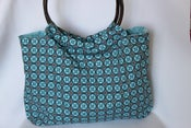 Image of Bamboo Handled Bag {Cyan Medallion}