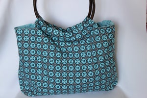 Image of Bamboo Handled Bag {Cyan Medallion}