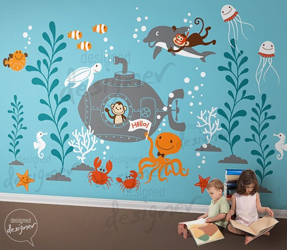 New Design Underwater Theme Decal Stickers For Nursery