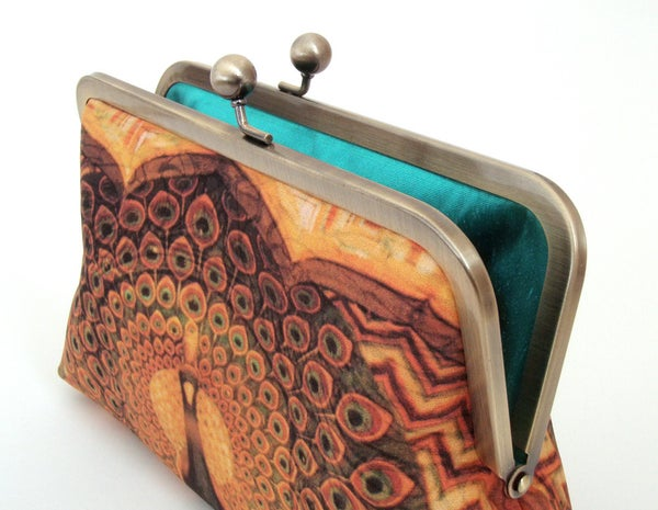 Peacock palace, original silk clutch purse - Red Ruby Rose