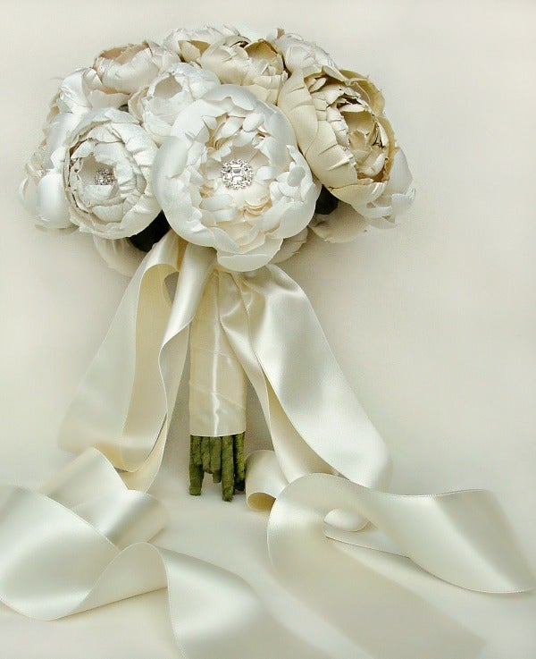 Image of Ivory, Off White and Cream Silk Catala and Peony Bridal Bouquet