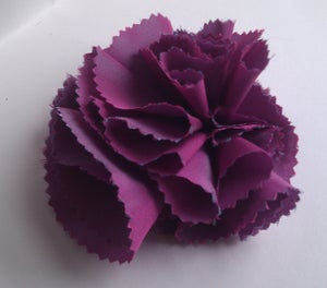 Image of Dianthus Headpiece/Corsage in shot pink and blue taffeta