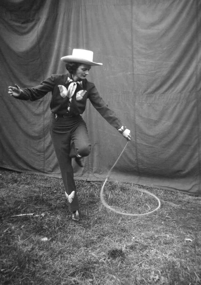 Image of Cowgirl Practices Lasso Routine