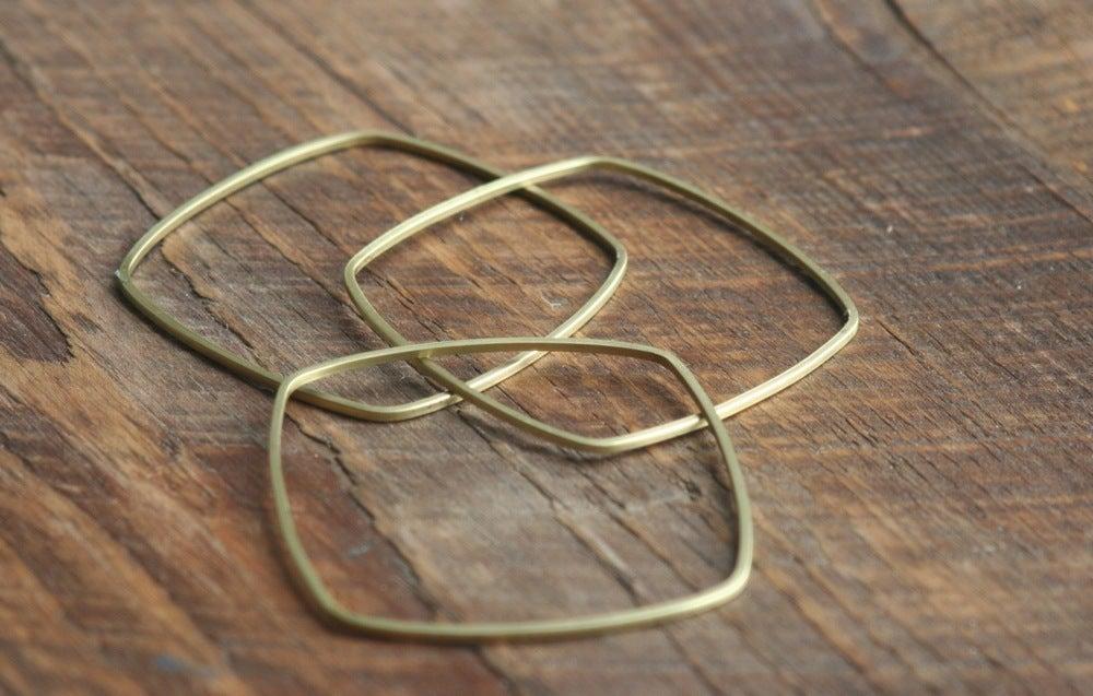 Image of 3 Skinny square brass bracelets