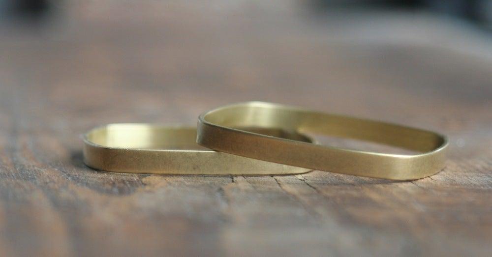 Image of 3 small Square brass bracelets