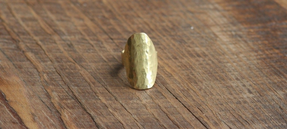 Image of Big Oval forge Brass ring