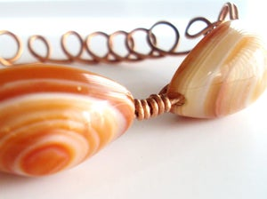Image of Bracelet  Copper Wirewrap Carnelian Eyebeads