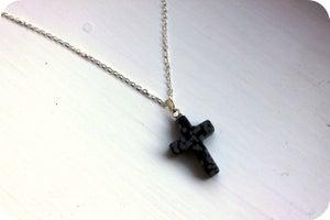 Image of Snowflake Obsidian Cross Pendant