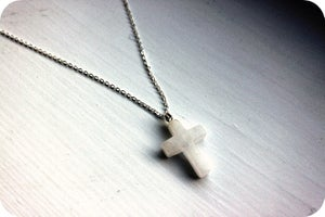 Image of Snowy Quartz Cross Pendant