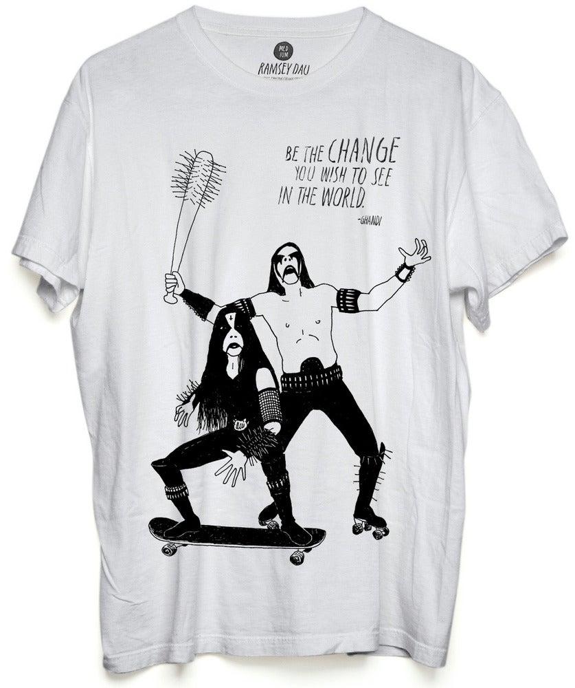 """Image of Ramsey Dau """"Ghandi Black Metal Rockers"""" T-Shirt"""