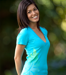 Image of BeLeaf Deep V-Neck w/key lime (turquoise)