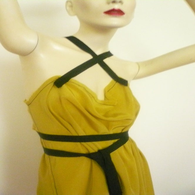 Image of MARIA SEVERYNA Silk Drape A Line Summer Dress in Mustard Yellow Silk - Available in other colors